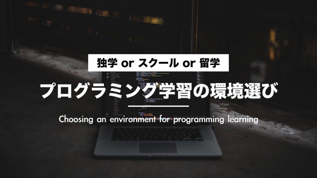 どれがオススメ?プログラミング学習の環境選び【独学・留学・スクール・オンライン】